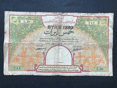 Syria 5 Livres dated 1939 (old dated 1935) P39Bb Fair