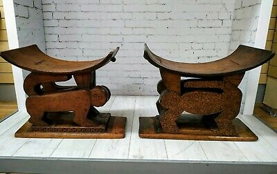 Vintage Pair Ashanti Stools Animal Monkey Hand Carved African Tribal Antique