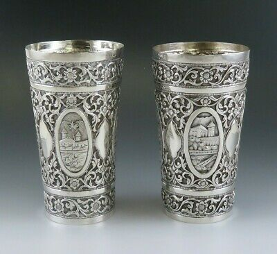 Ornate Pair Chinese / Southeast Asian Silver Repousse Beakers / Cups