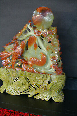Oriental Hand Carved SOAP STONE JADE birds and flowers