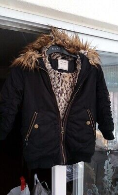 4 Years Next Winter Coat Girls Thick Furry Hooded Black Animal Print Lining