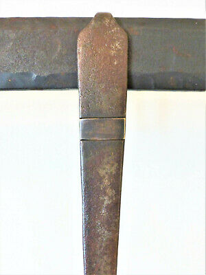 Antique 19th C HAND WROUGHT Iron Toasting BRASS INLAY Roasting FORK Folk ART #3