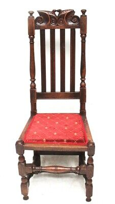 17th Century Joined Oak Carved Slat Back Side Chair [5791]