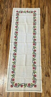 "Vintage Table Linen Runner Ivory Cross Stitch Handmade Pink Green Floral 43""x15"""