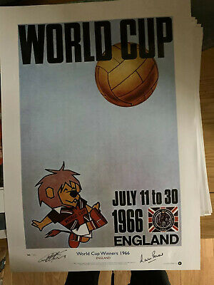 Superb England 1966 World Cup Poster  Signed Geoff Hurst & Peters £25