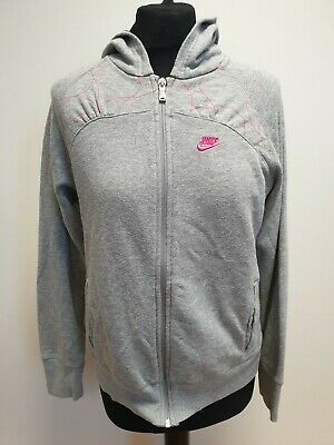 M785 Girls Nike Grey Pink Pattern Full Zip Tracksuit Jacket Hoodie Age 13-15 Yrs