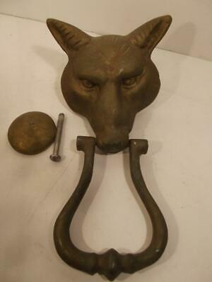 Vintage Solid Brass Fox Door Knocker Complete With Strike Plate Great Patina