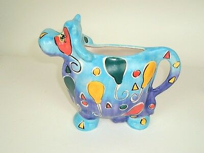 Vtg Large Cow Creamer Gravy Pitcher Blue Spotted Mod colorful geometric
