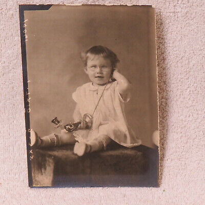 """Antique 3-1/2"""" x 5"""" Photograph of Young Girl + Stick Telephone - Glasses - CUTE!"""
