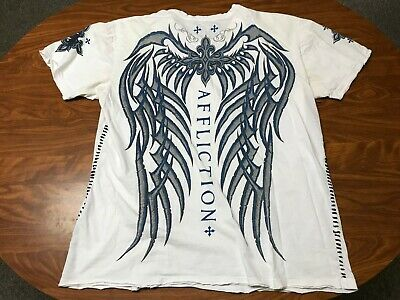 Mens Distressed Affliction Live Fast White Graphic Buckle Brand Shirt Size 3Xl
