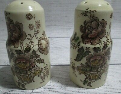 Staffordshire Charlotte Royal Crownford Pink Pair of Tall Salt & Pepper Shakers