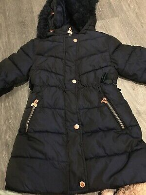 TED BAKER Girls Navy Coat Jacket With Hood, Age 6, Fantaatic Condition