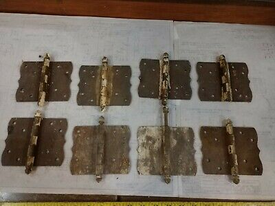 Reclaimed Antique Early Primitive Hinge lot of 8 Steel.   For restoration