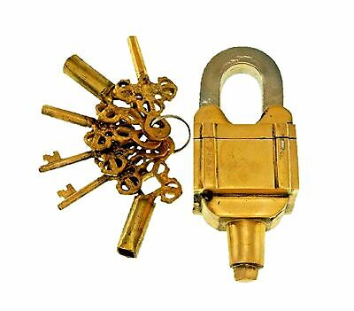 Golden Square Puzzle Lock Antique Finish Handmade Brass Trick Padlock & 6 Keys