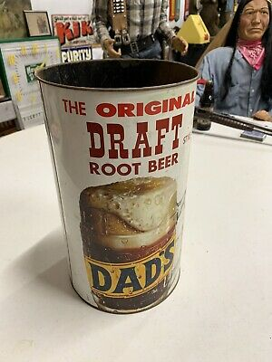 VERY RARE Dad's Root Beer Metal Trash Can Advertising COLA SODA GAS OIL SIGN