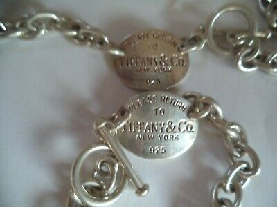 Please Return To Tiffany Heavy Sterling Silver Designer Necklace and bracelet