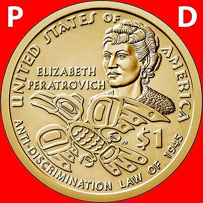 2020 P&D Sacagawea Native American Two Dollars Set Elizabeth Peratrovich