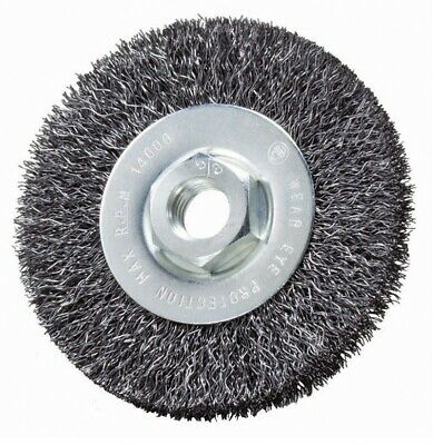 """5 Pack - 4"""" x 1/2"""" x 5/8-11"""" Crimped Wire Wheel Brush (Carbon Steel) Quantity 5"""