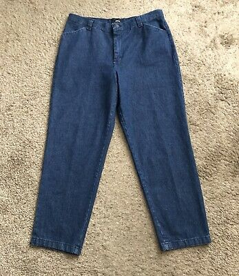 """RIDERS CASUALS Womens Petite Size 16P Tapered Denim Blue Jeans 29"""" Inseam"""