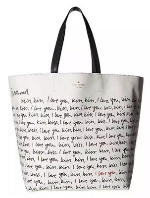 Kate Spade LARGE TOTE I love you Valentines Day Gift Heart It Penelope Bag NWT