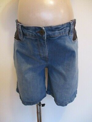 Next Maternity Mid Blue Denim Under Bump Jeans Shorts Size 14