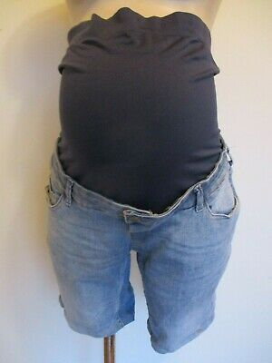Blooming Marvellous Maternity Blue Denim Over Bump Jeans Shorts Size 16