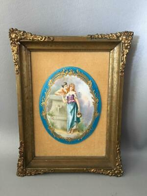 Antique Vtg Sevres Sty Blue & Gold Courting Couple Porcelain Cameo Plaque Signed