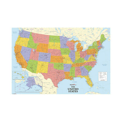 Map of the United States Large Poster Wall Decor Home Office Educational