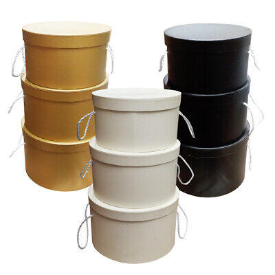 Large 3 Piece Set Round Hat Boxes Florist Flower Floral Gifts Display Wedding