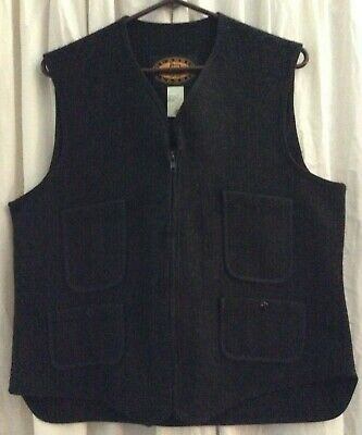 Woolrich Classic Black Wool Vest Men's Size 42 Made In USA Zip Front 4 Pkt NWOT