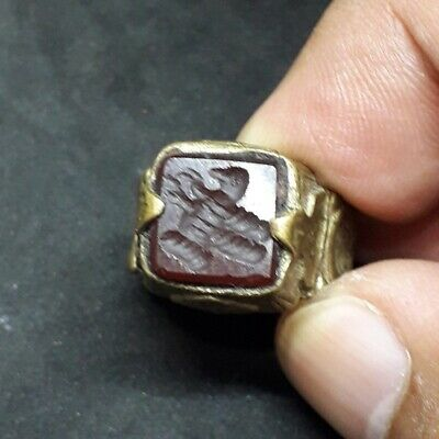 "Wonderful Red Bird Ring Islamic Writing Stamp intaglio Seal Lovely Stone 7.5"" us"