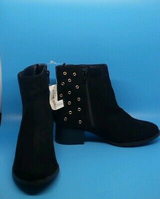 New Old Navy Girls Sueded Grommet Ankle-Boots Size 2 Black Color