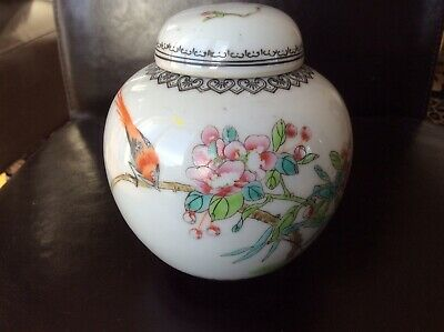 Chinese Jingdezhen Hand Painted Porcelain 'Cherry Blossom & Bird' Vase With Lid.