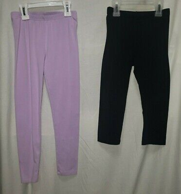 2 Pairs Girls 7-7/8 Leggings Purple Full Length and Black Cropped Used