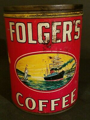 RARE VINTAGE FOLGERS COFFEE CAN  2 lb POUND 1931 EMPTY TIN CLIPPER SHIP FLOWERS