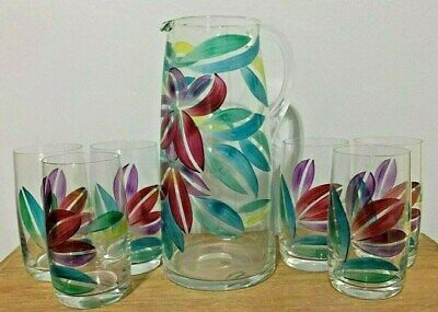 Vintage Clear Pitcher and Six Tumblers with Hand painted Floral print Gorgeous