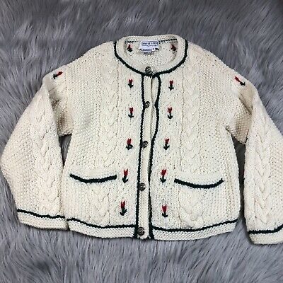 Vintage Girls One Of A Kind Shirley Duffy Wool Knit Floral Cardigan