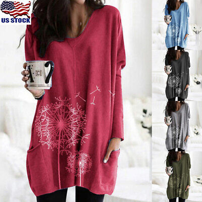 Womens Floral Printed Tunic Tops Ladies Long Sleeve Loose Pocket T-Shirt Blouse