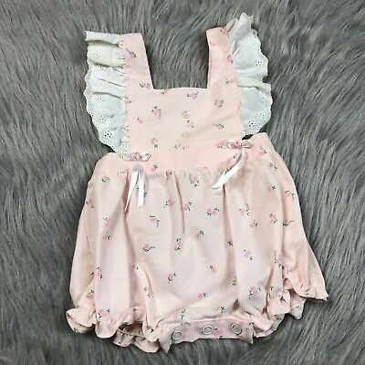 Vintage Baby Girls Pink White Floral Bow Lace Ruffle Romper Sunsuit