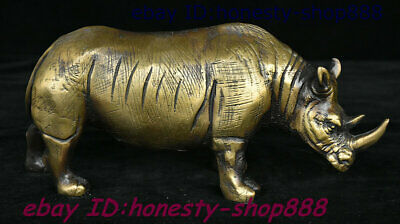 Collect Old China Dynasty Copper Bronze Fengshui Animal Xi Ox Rhinoceros Statue