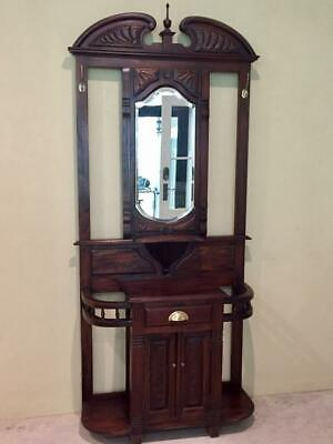 Antique Style Wood Hallstand with Drawer and Mirror - Adelaide