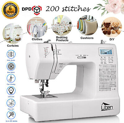 200 Stitches Electric Sewing Machine Automatic Threading 5 Sewing Feet Free Arm
