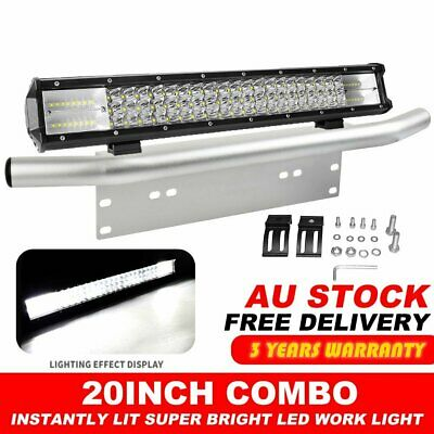 20inch CREE 3row LED Light Bar Combo SPOT FLOOD + 23inch Number Plate Frame 4WD