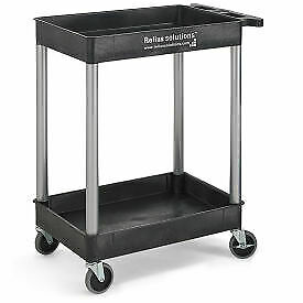 Relius Solutions  Tray-Shelf Carts With Nickel Legs - 2 Shelves - Tub Top