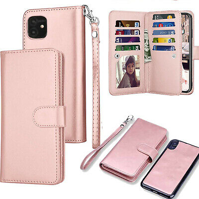 For iPhone 11 Pro Max Magnetic Leather Removable Wallet Card Case F Women/Girls