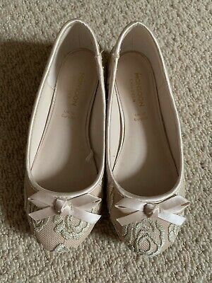 Monsoon Girls Party Shoes Pale Pink Lace Size UK12