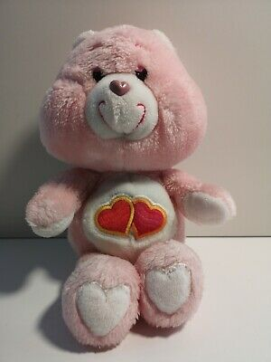 "Vintage Care Bears Love a Lot Bear 13"" Original Soft Plush Toy Cuddly Teddy"