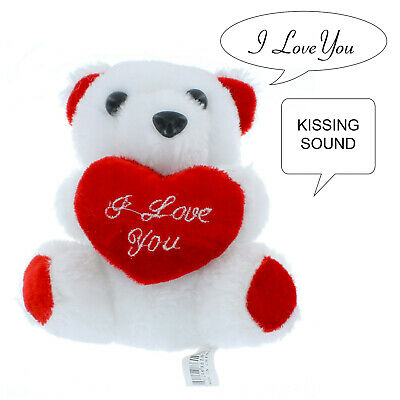 """6"""" Valentines Mothers Day Bear I Love You Red Heart Plush Talking Teddy Bear NEW"""