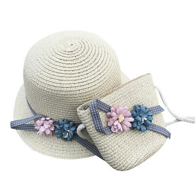 Girls Cute Toyo Straw Swinger Sun HAT w// Shell Charms Band spring easter bonnet