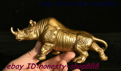 Collect Old China Dynasty Copper Bronze Fengshui Animal Xi Ox Rhinoceros Staute